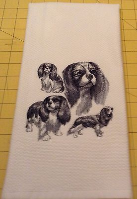CAVALIER KING CHARLES COLLAGE SKETCH Williams Sonoma Embroidered Kitchen Towel
