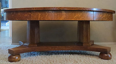 Antique Tiger Oak solid 2 Column Oval Parlour Library Coffee Table-Rare