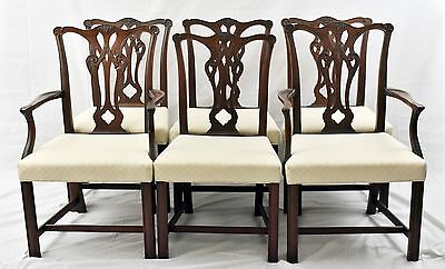 Baker Style Set of 6 Mahogany Chippendale Chairs  Dining Chairs