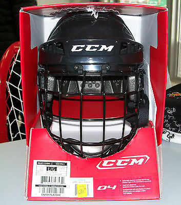 New in Box - CCM 04 Hockey Helmet Combo - Senior Large Black- CLEAR-OUT!