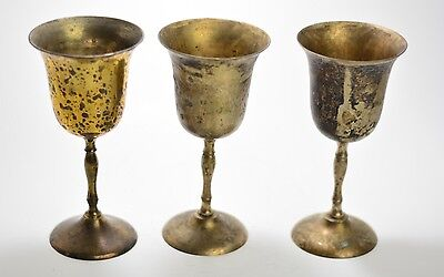 Set Of 3 Made In INDIA Brass Plated Vintage Wine Cup Wide Champagne Goblets