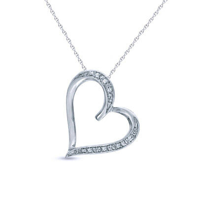 """Natural Diamond Accent Heart Pendant W/18"""" Chain 14k Gold Over Sterling Silver"""