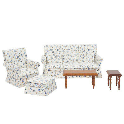Dollhouse Living Room Furniture Set 5pcs Couch Armchair Ottoman And 2 Tables