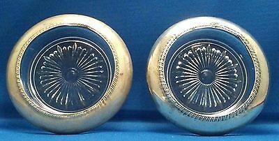 2 Antique Frank M Whiting Sterling Silver & Pressed Glass Coaster or Ashtray Set