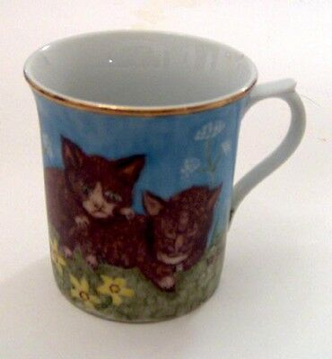 OOAK? Signed Coffee Cup Mug Cat Kitten Blue Sky Flowers Hand Painted Gold Rimmed