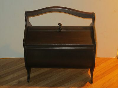 Antique Wooden Sewing Box Caddy With Thread Spool Shelf