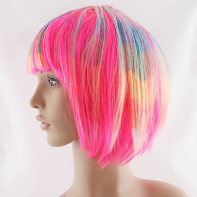 Bob Wig Wigs Hair with bang Synthetic Cosplay Costume Party Rainbow Halloween