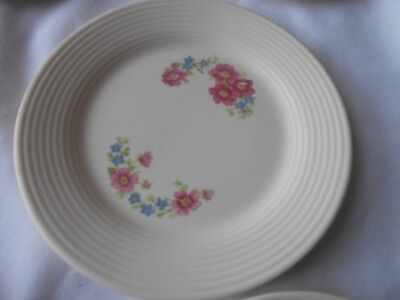American Limoges Triumph - OSLO - SET of EIGHT Bread & Butter Plates Pink Crest