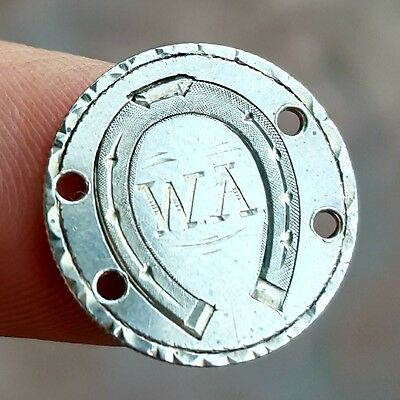 """1886 Silver Love Token Coin Charm w/ a HORSESHOE and the Initial """"W.A"""" Engraved"""