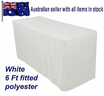 1.8m 6FT Fitted white Trestle Table Cover  Functions Weddings Parties Markets