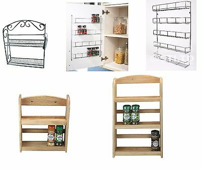 Spice Rack Holder For Kitchen Door Cupboard Storage Wall - Wooden ,Chrome