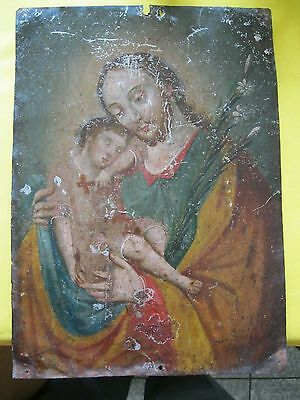 Original Antique Retablo On Tin Saint Joseph With Christ Child 10'' By 14''
