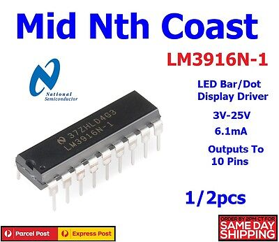 1/2pcs x LED Bar/Dot Display Driver IC NSC DIP-18 LM3916N-1 LM3916N-1/NOPB