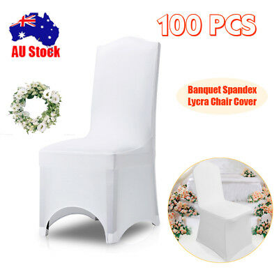 100PCS White Chair Covers Full Seat Cover Spandex Lycra Stretch Banquet Wedding
