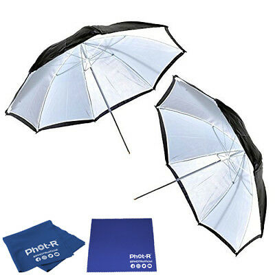 "Phot-R 2x 33"" Black & White Studio Reflector Umbrella Microfibre Chamois Cloth"