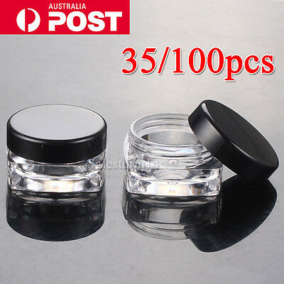 35/100pcs Clear Plastic Empty Cosmetic Lip Balm Sample Container Pot Jar Cap 3g