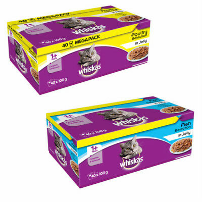 Whiskas Fish/ Meat Selection In Jelly 40pk Mega Value Pack - Wet Cat Food 100g
