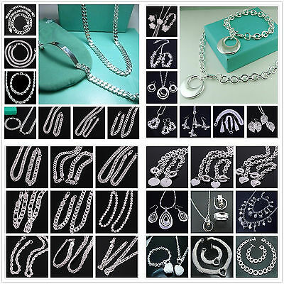 60Styles wholesale Silver Womens/mens Sets Silver Necklace & Bracelet + 925Box