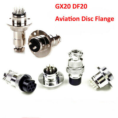 GX20 DF20 Aviation Disc Flange Male + Female Connector 2/3/4/5/6/7/8/9/10/12 Pin