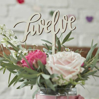 Ginger Ray BOHO Wooden Table Numbers 1-12 - Wedding / Party / Table Centrepiece