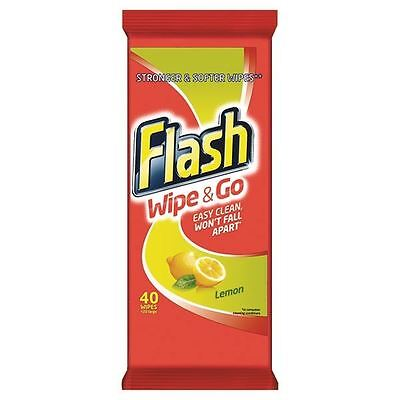 Flash Wipe & Go Lemon Cleaning Wipes (Pack of 40) 5410076791750 [PX79175]