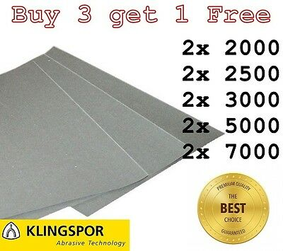 WET AND DRY SANDPAPER MIXED Assorted GRIT 2 of EACH - 2000 2500 3000 5000 7000