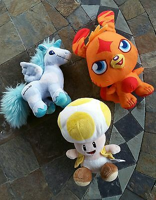 Lot Of 3 Plush Neopet Unicorn / Moshi Monster / Nintendo Mushroom Free Ship