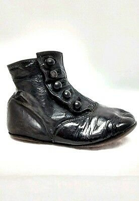 Victorian Antique High Top Button Patent Leather Shoe Children Baby 19th Century