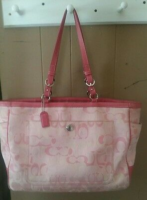 Authentic Coach Baby/ Diaper Bag Optic CC's pink multiple pockets