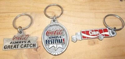 3 Coca-Cola Pewter Enamel Keychains - 1997 - Coke Truck & Signs