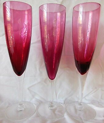 "3 Vintage Hard to Find 9 1/8"" Pilgrim Glass Cranberry Champagne Flute Glasses"