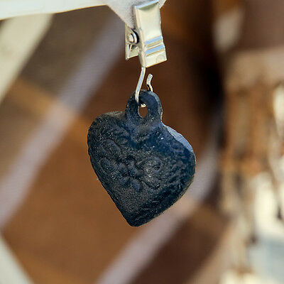 Set of 4 Cast Iron Heart Table Cloth Weights by Dibor