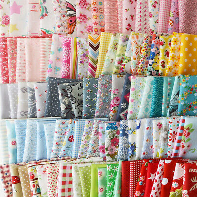100X Floral Cotton Fabric Bundle Patchwork Scraps Quilting Sewing Crafts 10X10cm
