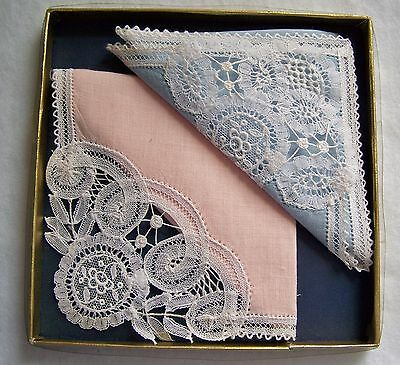 Two Lace Trimmed Handkerchiefs Pink, Blue ~ Preowned/Unused ~ Original Box