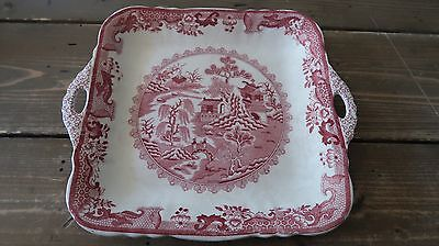 SUPER RARE Masons Ironstone RED WILLOW Square Tray 9 3/8 x 10 3/4 inches