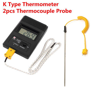 TM-902C Digital LCD K Type Thermometer Meter Single Input + 2Thermocouple Probe