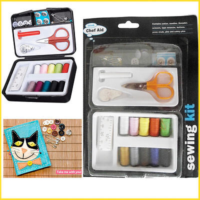 Sewing Set Travel Kit Needle Scissor Thread Button Pin Tape Craft Stitch Home