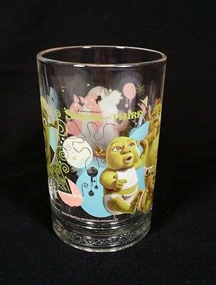 McDonald's Collectible Shrek The Third Glass w/ Donkey And Babies 15 oz.