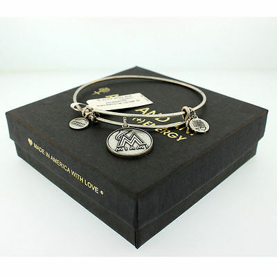 Alex And Ani Miami Marlins Cap Logo Charm Bangle In Rafaelian Silver, AS12MM01RS