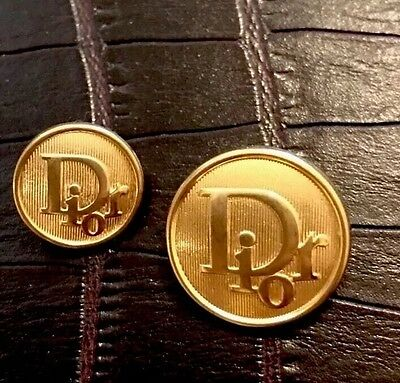 8 Gold Dior Metal Buttons For Jacket Blazer Coat (2 Large - 6 Small)