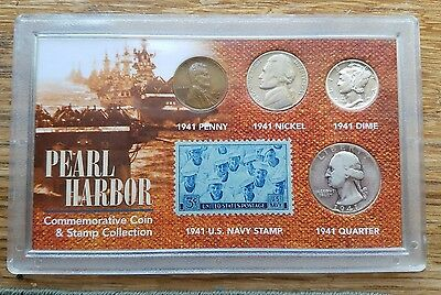 Pearl Harbor Commemorative Coin And Stamp Set Penny/Nickel/Dime/Quarter/Stamp
