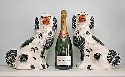 """Large Pair Antique Staffordshire Dogs, Black and Tan Colouring, 12"""" Tall"""