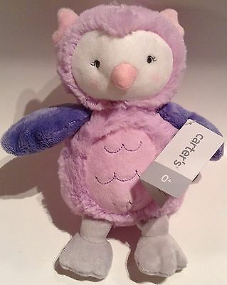 """Carters Carter's 9"""" PINK PURPLE OWL Baby Plush Stuffed Animal Infant Soft Toy"""
