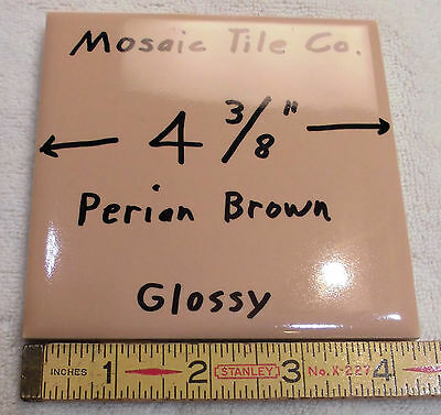 "6 pcs. Light Brown Ceramic Tiles made by Mosaic Tile Co.…NOS…4-3/8"" Glossy (NOS)"