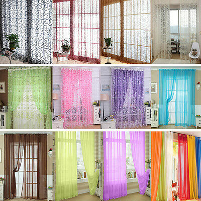 New Flower Floral Tulle Voile Window Curtain Drape Panel Sheer Scarf Valances