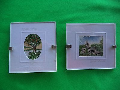 Lot Of 2 Sharon Jervis Miniature Water Colour Painting Prints