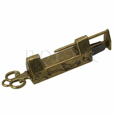 Chinese Old Style Antique Bronzy Carved Padlock Lock