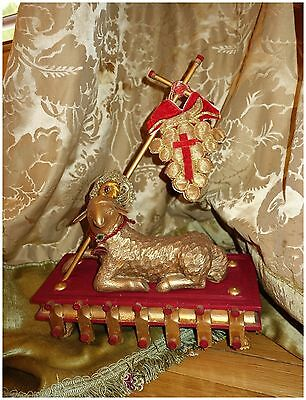 Antique French Religious Agnus Dei Lamb Paschal Figure Statue