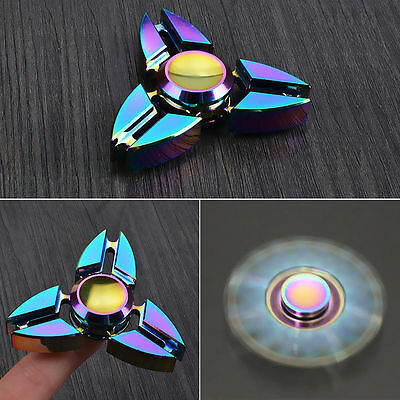 Rainbow EDC Hand Spinner Tri Fidget Focus Desk Toys Anti Stress Gyro Colorful