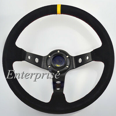 350mm /13.8inch Deep Dished Sport Racing Suede Alloy Steering Wheel Red Thread